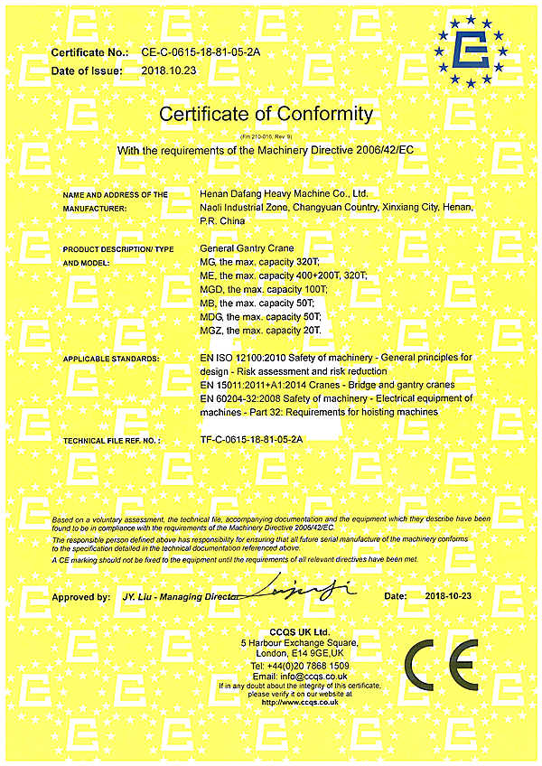 CE certification for gantry cranes